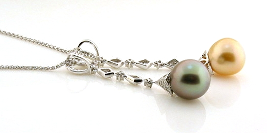 Golden South Sea Pearl & Peacock Tahitian Pearl Pendant w/Chain, 0.54 Ct. Diamonds, 18K White Gold, 18 + 2 In.