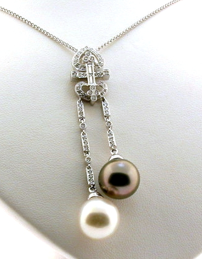 White South Sea Pearl & Peacock Tahitian Pearl Pendant w/Chain, 0.52 Ct. Diamonds, 18K White Gold, 16 + 2.3 In.