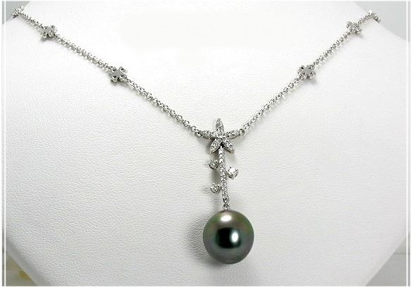 11.8X13MM Peacock Tahitian Pearl Diamond Necklace 18K White Gold Size 7