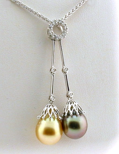 Gray & Golden South Sea Pearl Lariat Necklace w/0.23 Ct. Diamonds, 18K White Gold 18 In.