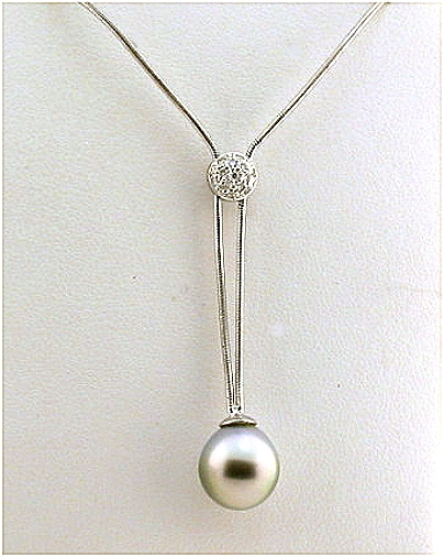 9.7X10.2MM Gray Tahitian Pearl Lariat Necklace w/Diamonds, 18K White Gold 17-18 In. Extendable