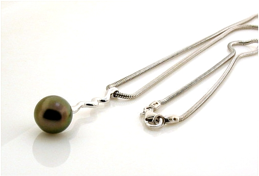 9.7MM Black Tahitian Pearl Lariat Necklace, 14K White Gold w/0.18 Ct. Diamonds