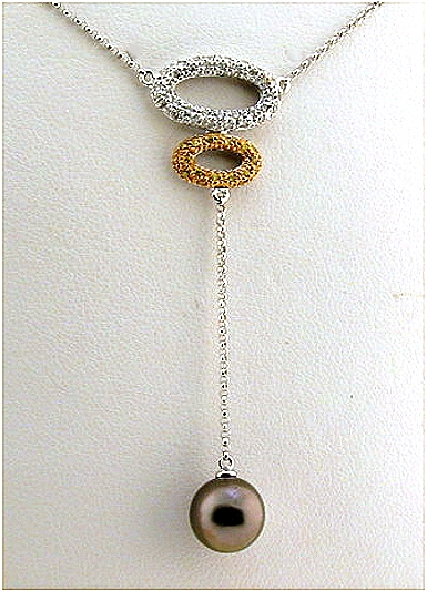 8.83MM Tahitian Pearl Lariat Necklace w/0.26 Ct. White & Yellow Diamonds, 14K White Gold