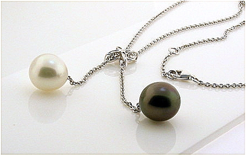 10.10MM & 11MM Tahitian & South Sea Pearl Lariat Necklace, 0.07 Ct. 18K White Gold 17+1.75 In.