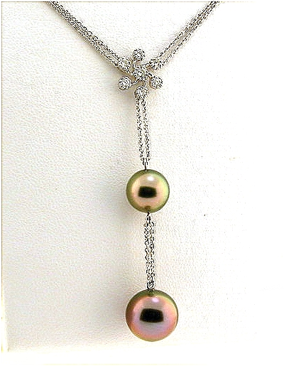9.05MM & 10.9MM Peacock Tahitian Pearl Lariat Necklace, 0.20 Ct. 18K White Gold 16+2 In.