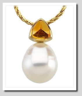Paspaley 11MM South Sea Pearl w/ Citrine Pendant 14K Gold