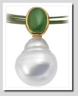 Paspaley 11MM South Sea Pearl w/ Jade Pendant 14K Gold