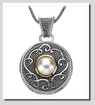 10MM FW Cultured Pearl Pendant w/18in. Chain, Sterling  Silver/14K Gold