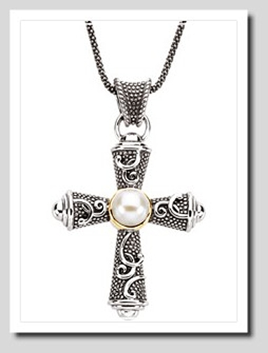 8MM FW Pearl Large Cross Pendant w/18in. Chain, Sterling  Silver/14K Gold