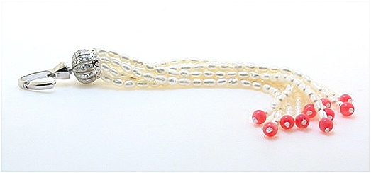 10 Strand White FW Pearl & Pink Coral & Crystal Chandelier Pendant Enhancer, Silver, 4.5in Long