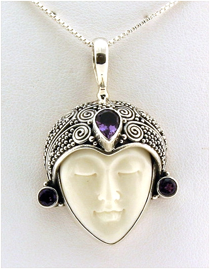 Bone Carving Lady Face Pendant w/Amethyst, Silver, 1.7in Long, 13 Grams