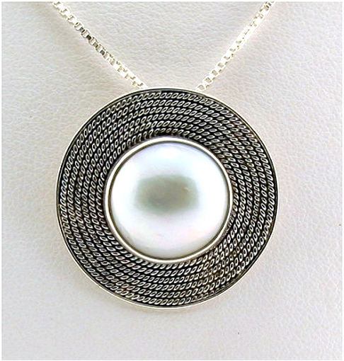 15MM Mabe Pearl Pendant, Silver, 1in Wide, 6 Grams