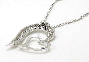 Large Double Heart Pendant w/ Chain, Cubic Zircon, Sterling Silver