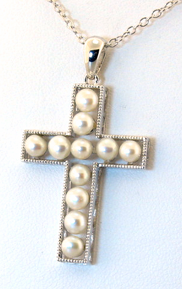 3.5-5MM Freshwater Pearl Cross Pendant w/18in Chain, Silver