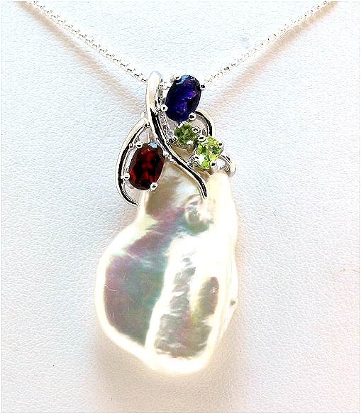 18X29MM Freshwater Baroque Pearl & Gemstones Pendant w/Chain 18in, Silver
