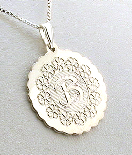 Cherry Design Monogram Initial Pendant w/Chain 18in, Sterling Silver
