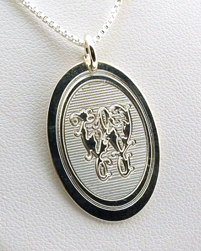 Oval Floral Monogram Initial Pendant w/Chain 18in, Sterling Silver