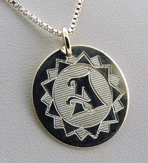 Star Style Monogram Initial Pendant w/Chain 18in, Sterling Silver