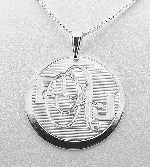 Double Font Design Monogram Initial Pendant w/Chain 18in, Sterling Silver