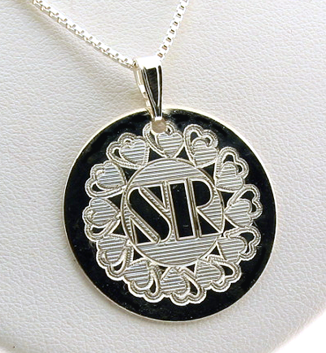 Double Heart Design Monogram Initial Pendant w/Chain 18in, Sterling Silver