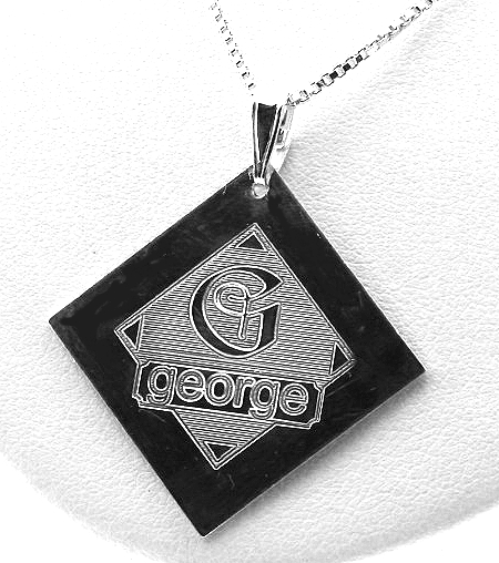 Special Design Name & Initial Pendant w/Chain 18in, Sterling Silver
