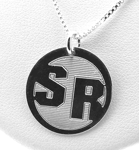 Round Monogram Initial Pendant w/Chain 18in, Sterling Silver