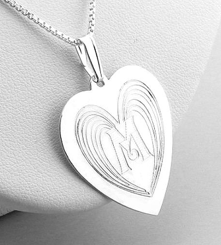 Angel Wing Design Monogram Initial Heart Pendant w/Chain 18in, Sterling Silver