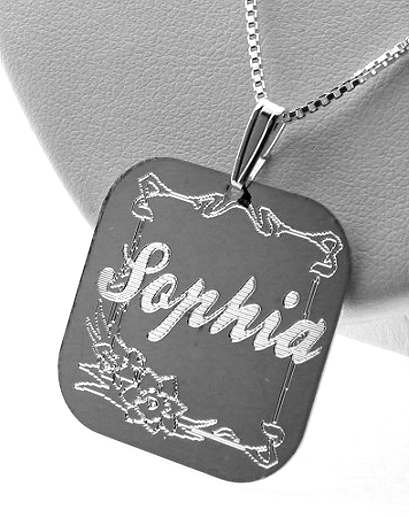 Custom Made Floral Design Script Name Plate Pendant with Chain, Square Shape, Sterling Silver