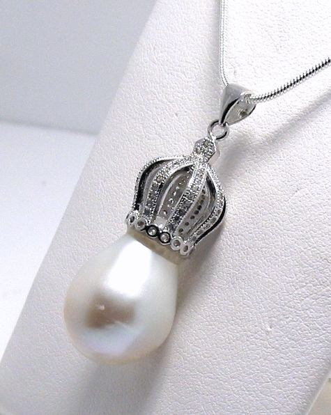 14X20MM White FW Pearl 18K White Gold Plated Micro Pave Crown Setting,