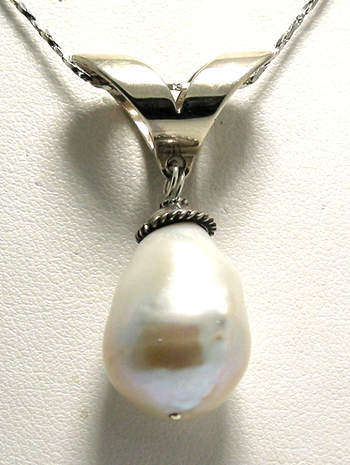 15X21MM Creamy White Freshwater Pearl Pendant Slide, Silver, 1.4in Long