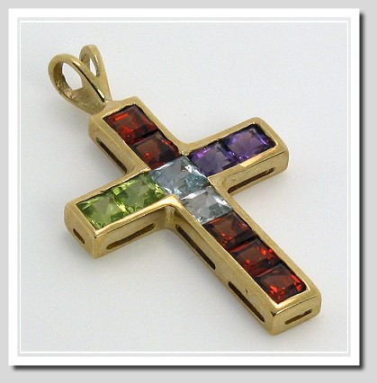 Multi Princess Cut Gemstone Cross 14K Yellow Gold