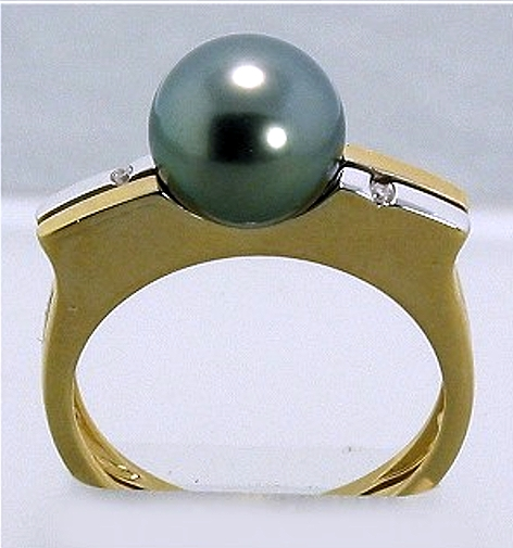9MM Tahitian Pearl Ring w/Diamond, 14K Y Gold Size 7.25