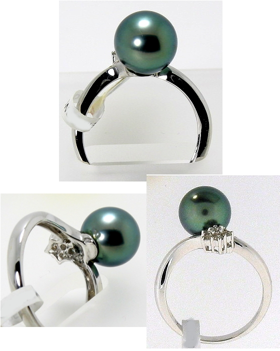 9.4MM Peacock Tahitian Pearl Diamond Ring 18K White Gold Size 7.5