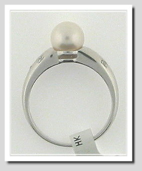 7-7.5MM White Akoya Cultured Pearl Diamond Ring 14K White Gold