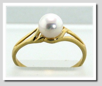 6.2MM White Akoya Cultured Pearl Ring 14K Yellow Gold Size 7.25