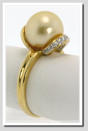 10.2MM Golden South Sea Pearl Diamond Ring 18K Gold Size 7