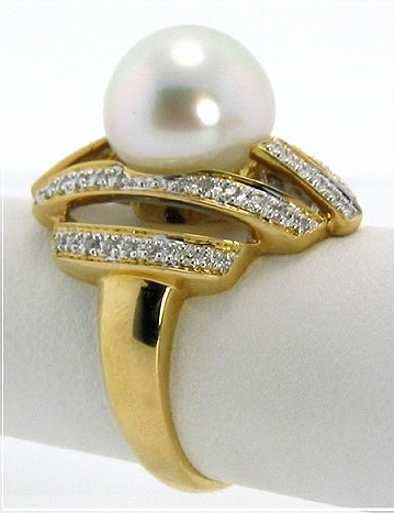 11.07MM White South Sea Pearl Diamond Ring 18K Gold Size 7