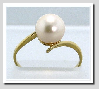 7.8MM White Akoya Cultured Pearl Ring 14K Yellow Gold Size 6.75