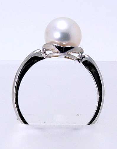 AAA 8-8.5MM Japanese Akoya Pearl Ring 14K White Gold