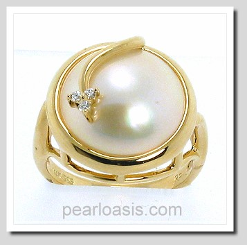 14MM Japanese Mabe Pearl Diamond Ring 14K Gold Size 7