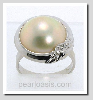 14MM Japanese Mabe Pearl Diamond Ring 14K White Gold Size 7