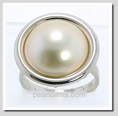 14MM Japanese Mabe Pearl Ring 14K White Gold Size 7