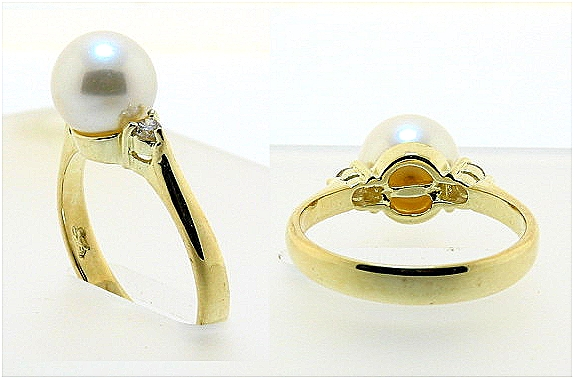 8-8.5mm Cultured Pearl Ring w/Diamonds, 14K Yellow Gold, Size 7