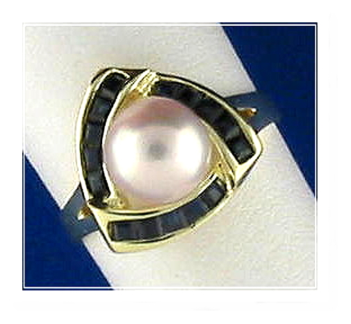 Cultured Pearl & Sapphire Ring, 14K, Triangle Style, Size 7