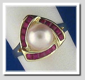 7.5-8MM Cultured Pearl & Ruby Ring, 14K, Triangle Style, Size 7