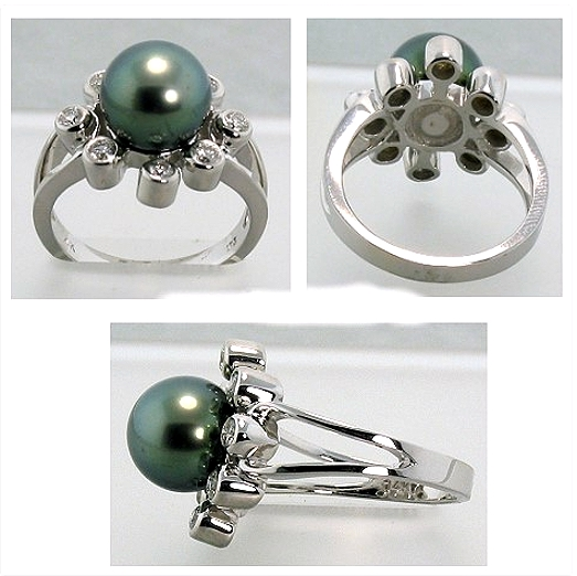 9.7MM Peacock Tahitian Pearl Diamond Ring 0.42 Ct. 14K White Gold Size 7.5