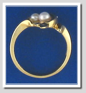 Dolphin Ring with Two White Akoya Cultured Pearl, 14K, Size 7.5