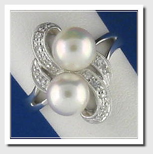 Double White Cultured Pearl Ring w/Diamonds, 14K W Gold