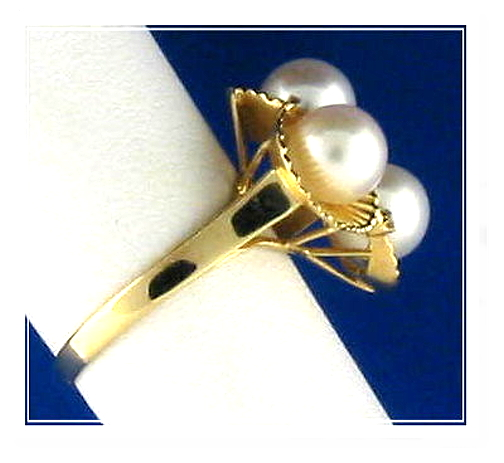 Tri White Cultured Pearl Ring w/Diamonds, 14K Y Gold