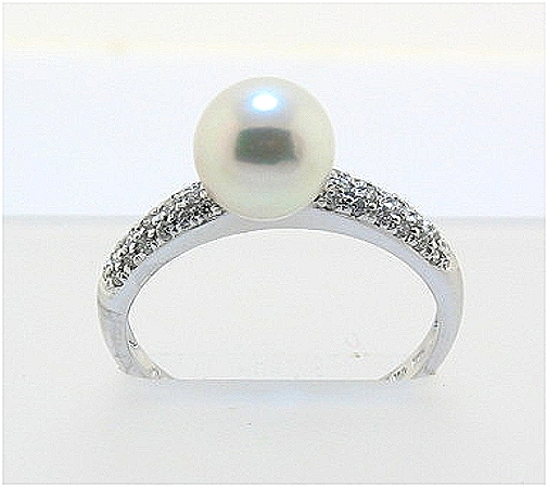 7.5MM White Akoya Cultured Pearl Ring w/0.18 Ct. Diamonds, 14K White Gold, Size 7